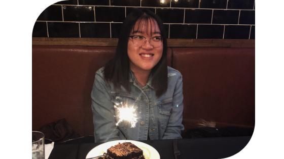 Birthday dessert at a restaurant.