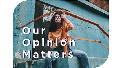 """Our opinion matters"" quote with teen girl sitting on steps"