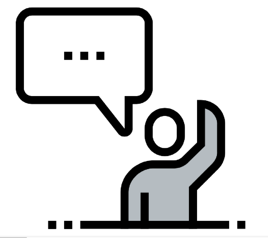 black and grey social person with word bubble saying hi icon for Glacier adversing for colleges and universities
