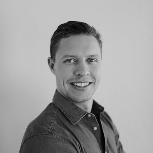 Ben Oldale black and white headshot photo for for Glacier adversing for colleges and universities