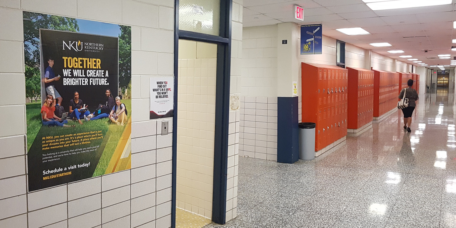 Example of a hallway high school advertising installation
