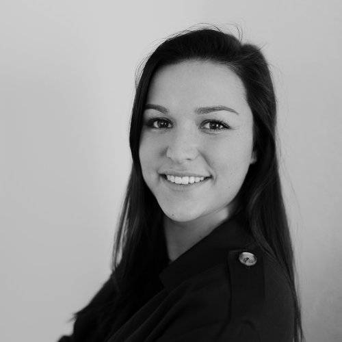 Jodi Morrison black and white headshot photo for for Glacier adversing for colleges and universities