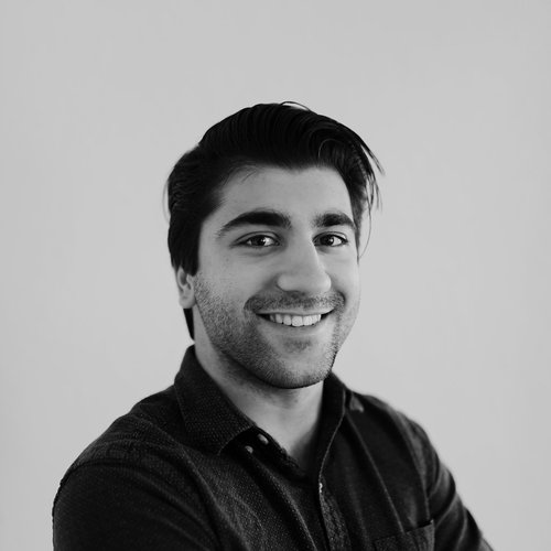 Jordan Garcha black and white headshot photo for for Glacier adversing for colleges and universities
