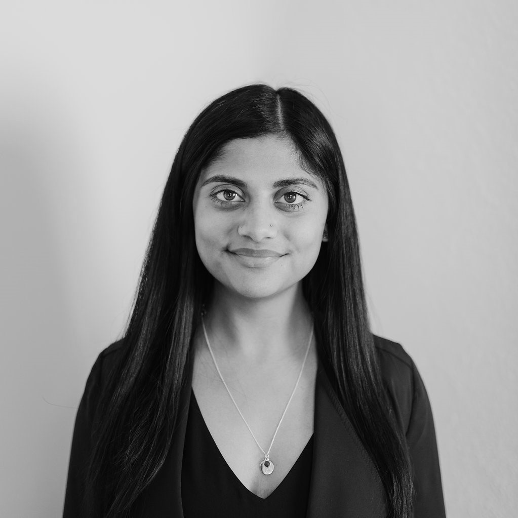 Rasina Atwal black and white headshot photo for for Glacier adversing for colleges and universities