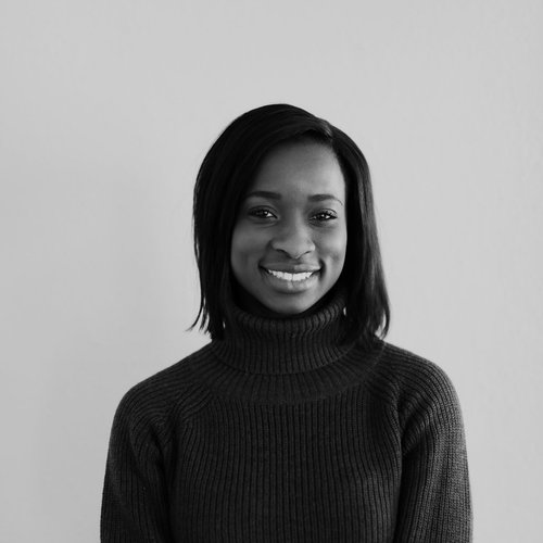 Sade Babatunde black and white headshot photo for for Glacier adversing for colleges and universities
