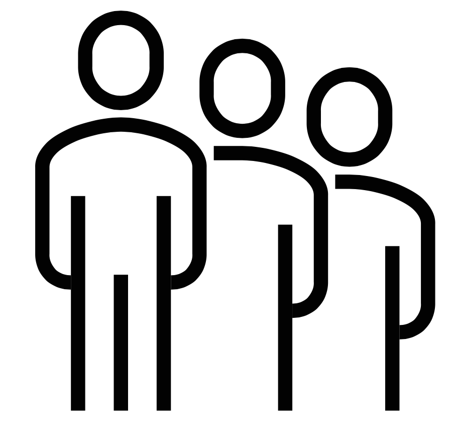Three people standing diagonally black icon for Glacier adversing for colleges and universities