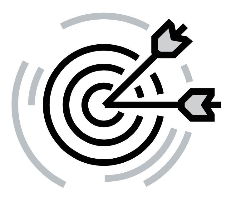 black and grey arrows on target icon for Glacier adversing for colleges and universities