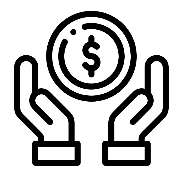 black coin in hands icon for Glacier adversing for colleges and universities
