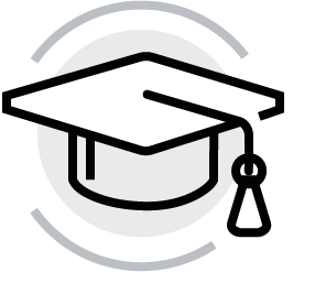 black and grey Graduation Hat icon for Glacier adversing for colleges and universities